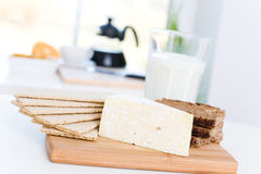 Cheese, milk, bread Royalty Free Stock Photography