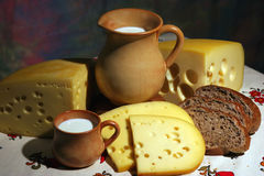 Cheese, milk and bread royalty free stock images