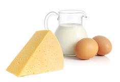 Cheese, milk and eggs Royalty Free Stock Images