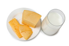 Cheese and milk on white Stock Photography