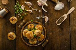 Cheese mini buns from domestic dough Royalty Free Stock Photos