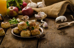 Cheese mini buns from domestic dough royalty free stock images