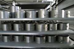 Cheese moulds in modern dairy factory Royalty Free Stock Photo