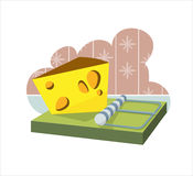 Cheese in a mousetrap Stock Photo