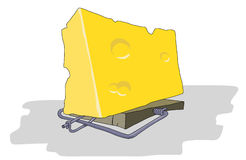 Cheese in Mousetrap. Gigantic enormous cheese in traps for greed and fool mouse royalty free illustration