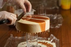 Cheese mousse cake stock photos