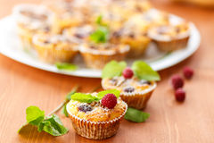 Cheese Muffins with berries Stock Photo