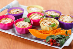 Cheese muffins with pumpkin Stock Photos