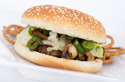 Cheese and mushroom burger. White cheese, mushroom and hot pepper burger stock photos