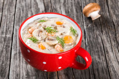 Cheese mushroom soup with spring carrots and veggies stock photo