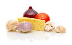 Cheese, mushrooms and vegetables a close-up Stock Image