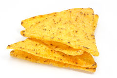Cheese nachos. Chips on a white background Royalty Free Stock Photos