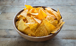 Cheese nachos in the bowl Stock Photo