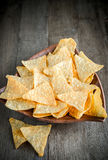 Cheese nachos in the bowl Stock Images