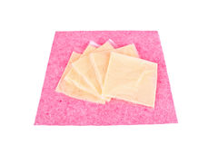 Cheese on a napkin Stock Images