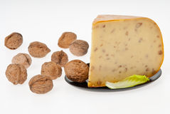 Cheese with nuts Royalty Free Stock Images