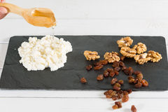 Cheese with nuts Royalty Free Stock Photos