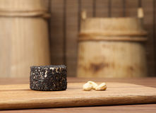Cheese and nuts royalty free stock photo