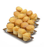 Cheese and olive cupcakes on silver plates Royalty Free Stock Photography