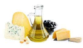 Cheese and olive oil Royalty Free Stock Image