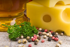 Cheese and olive oil Royalty Free Stock Photo