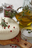 Cheese with olive oil Royalty Free Stock Images