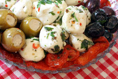 Cheese, Olive and Tomatoe Appetizer Stock Images