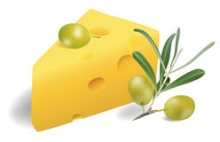 Cheese with olives. Vector illustration. Contains mesh Royalty Free Stock Photo