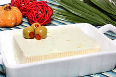 Cheese with olives Stock Photo