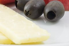 Cheese and Olives Stock Photo