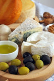 Cheese and olives breakfast royalty free stock image