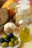 Cheese and olives breakfast Royalty Free Stock Images