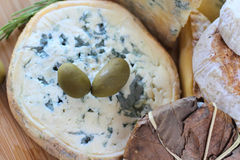 Cheese and Olives composition Royalty Free Stock Photography