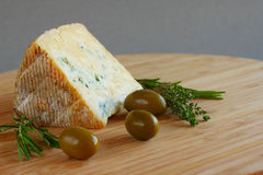 Cheese and Olives composition Royalty Free Stock Images