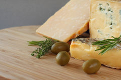Cheese and Olives composition Royalty Free Stock Image
