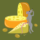 Cheese, olives and mouse. Stock Photography