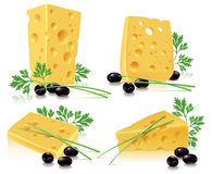 Cheese, olives, onion, parsley Stock Photography