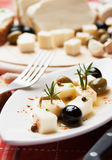 Cheese and olives salad Royalty Free Stock Images