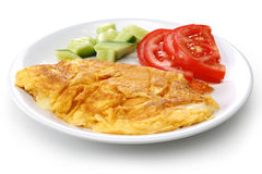 Cheese Omelet. On a white ceramic plate stock photos