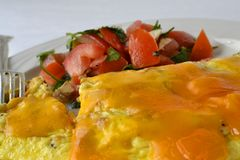 Cheese Omelette Tomato Salad Royalty Free Stock Photos