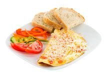 Cheese omlett with ham Stock Images