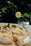 Cheese and onion Focaccia bread. Royalty Free Stock Photos