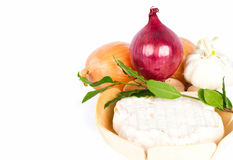 Cheese with onion, garlic and fresh bay leaves Stock Image