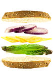 Cheese and Onion Layered Sandwich. Layered cheese, red onion and green lettace sandwich between two slices of crusty bread on a white background Stock Image