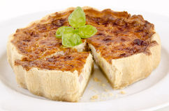 Cheese and onion quiche with basil Stock Image