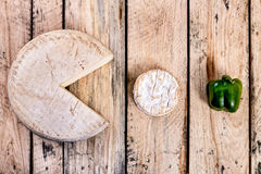 Cheese - pac-man. Two kind of cheese and a pepper - arranged in pac-man style Royalty Free Stock Images