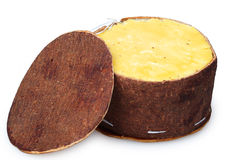 Cheese packaging made of birch bark Royalty Free Stock Image