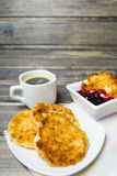 Cheese pancake with coffee and jam Royalty Free Stock Image