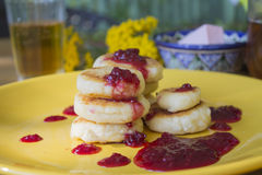 Cheese Pancake. With raspberry sauce stock image