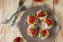 Cheese Pancake With Sweet Ripe Strawberries Royalty Free Stock Image